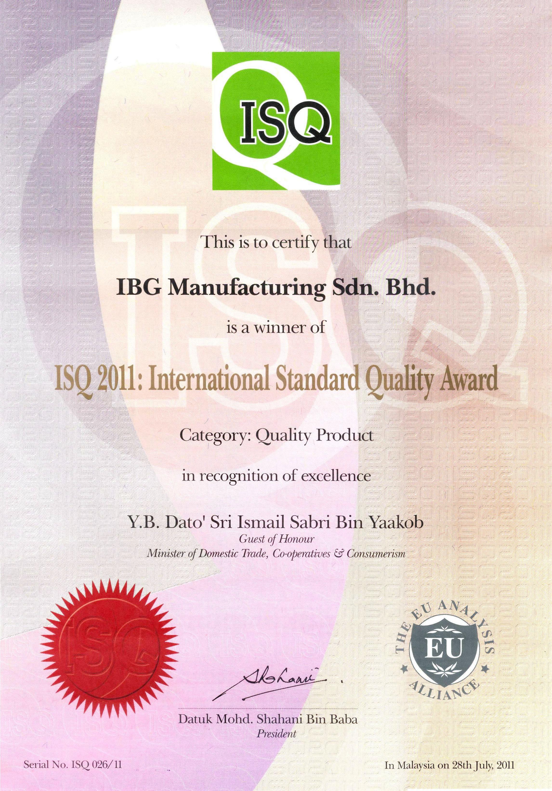ISQ-2011 Certificate